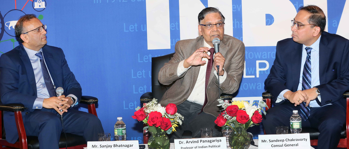 Dr. Arvind Panagariya; Professor, Columbia University and former Vice Chairman of NITI Aayog delivering 1st New India Lecture on January 22, 2018 at the Consulate