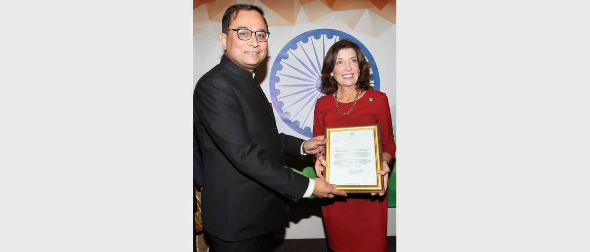 Lt. Governor of New York; Kathy Hochul handing over proclamation signed by Governor of New York, Andrew Cuomo to Sandeep Chakravorty, Consul General on the occasion of India's Republic Day