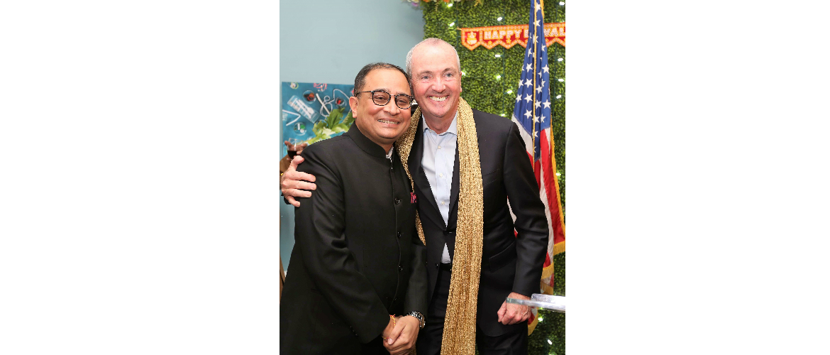 Governor Phil Murphy with Sandeep Chakravorty, Consul General at his residence celebrating Diwali