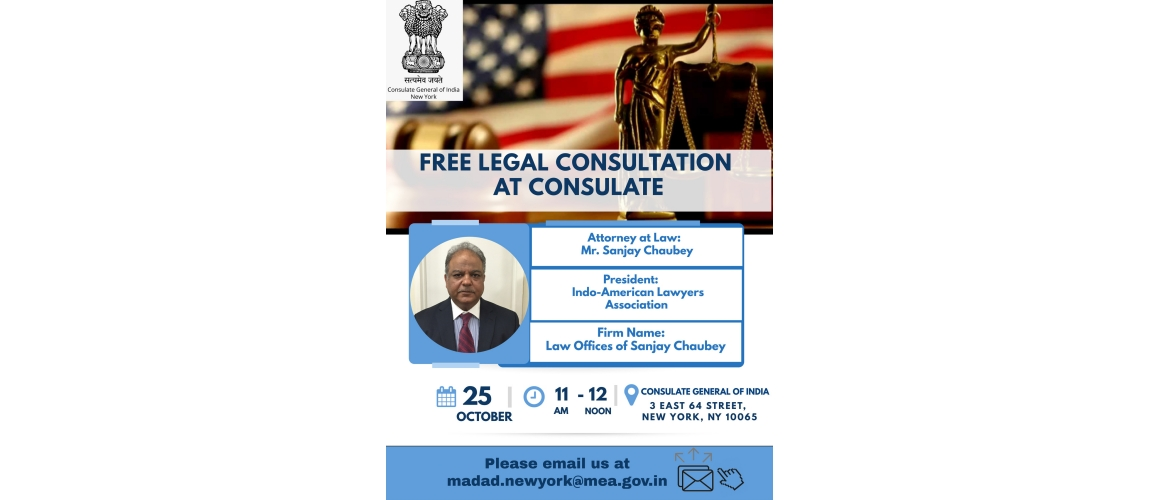 Free Legal Consultation@Consulate on October 25, 2019