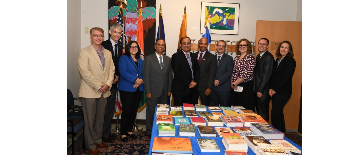 "Sandeep Chakravorty, Consul General along with Dr. Satish Tripathi, President, University of Buffalo attended an event to mark the launch of ""India Corner"" at University of Buffalo Library (September 5, 2018)"