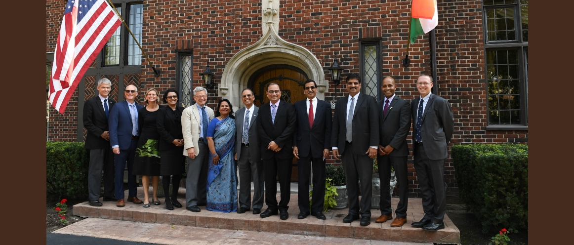 "Sandeep Chakravorty, Consul General with Dr. Satish Tripathi, President and the University Leadership Team during a visit to University of Buffalo for delivering a talk on ""India's Foreign Policy & India – US Relations"" (September 5, 2018)"
