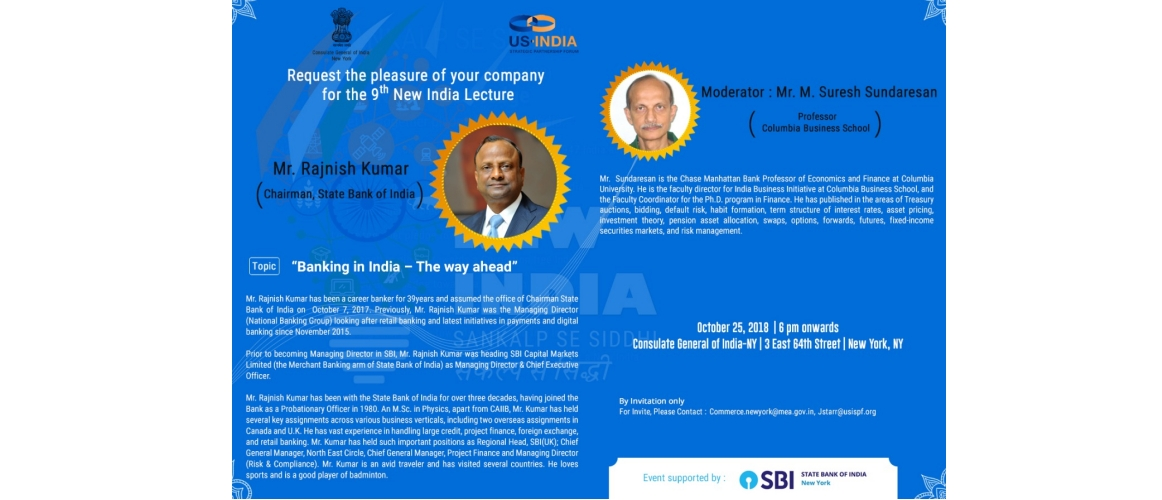 9<sup>th</sup> New India Lecture on Oct 25, 2018