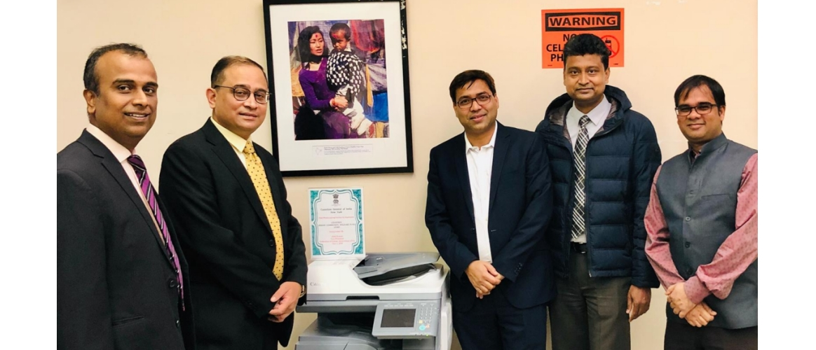 "On Nov 01 2018, Alok Kumar, Vice President, Federation of Indian Associations (FIA) inaugurated the free Photocopying facility for applicants at CGI, New York. This facility is created courtesy the ""Indian Community Welfare Fund (ICWF) of the Consulate"