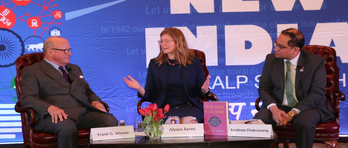 "The 4th New India Lecture was held at the Consulate by Ms. Alyssa Ayres, Senior Fellow, Council on Foreign Relations on Monday, May 21, 2018. The lecture was moderated by Amb. Frank Wisner. Alyssa Ayres spoke on ""India's Role on World Stage"