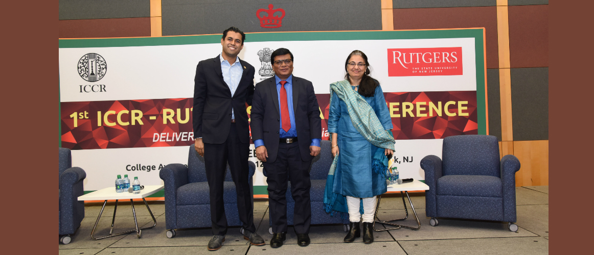 """1st ICCR- Rutgers India Conference"" on February 22, 2019<br/> <small>L: R - Senator Vin Gopal, Senate Majority Conference Leader, New Jersey Legislature; Milind Kamble, Founder Chairman, Dalit Indian Chamber of Commerce and Industry; Navnita Chadha Behera, Professor of Political Science, University of Delhi</small>"