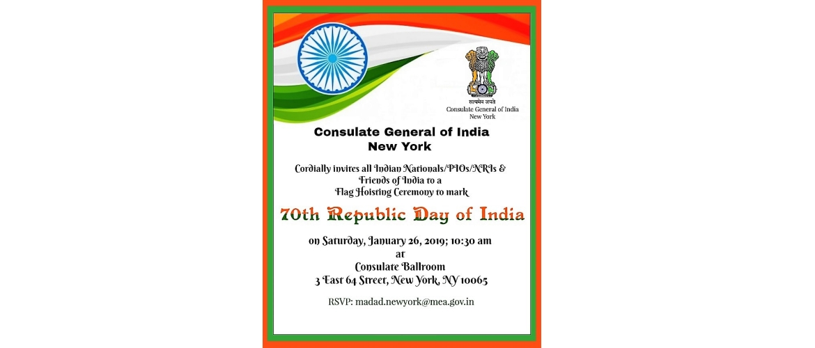 Flag Hoisting Ceremony on the occasion of 70th  Republic Day of India at Consulate