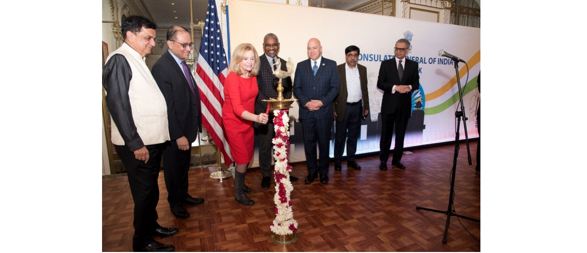 Republic Day Reception at Consulate General of India, New York L–R:  Sudhir Parikh, Community Leader; Sandeep Chakravorty, Consul General; Congresswoman Carolyn Maloney; Congressman Gregory Meeks; Council Member Paul Vallone; Yogendra Tripathi, Secretary, Ministry of Tourism; Amb. Syed    Akbaruddin, PR of India to the U.N