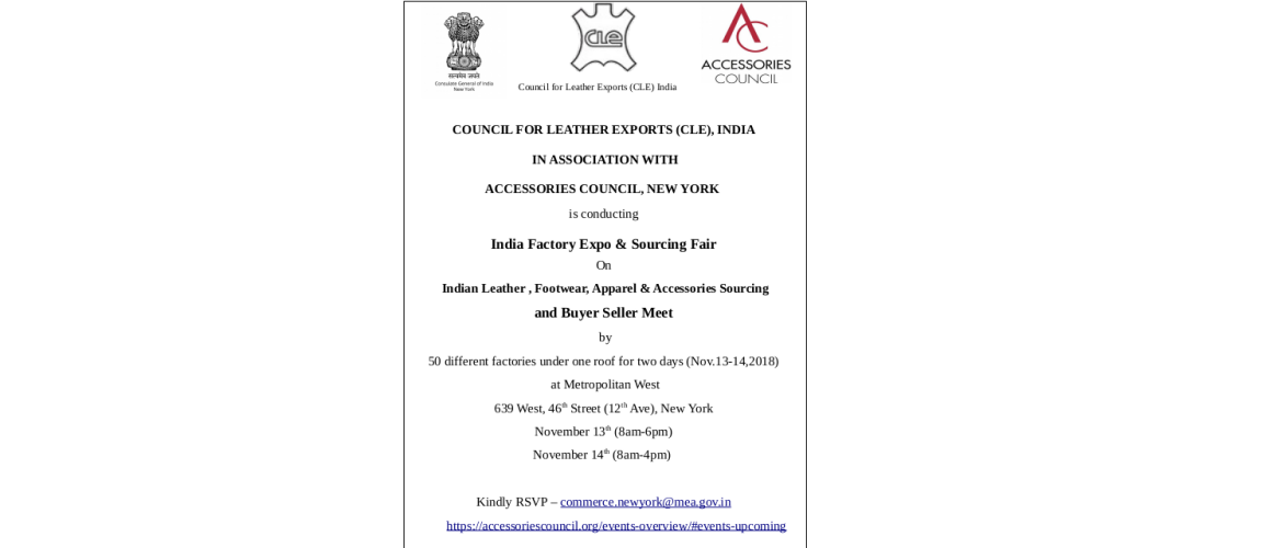 Invitation: India Factory Expo & Sourcing Fair on Indian Leather, Footwear, Apparel & Accessories Sourcing and Buyer Seller Meet on Nov. 13-14, 2018