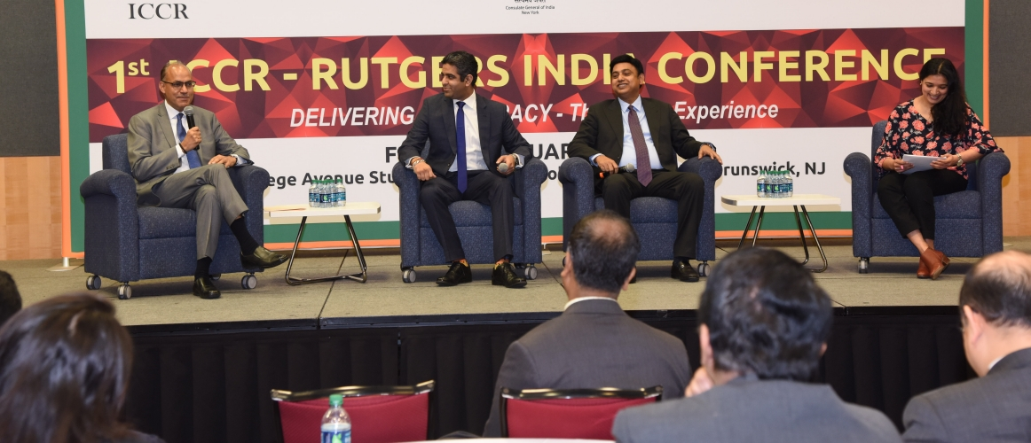 """1st ICCR- Rutgers India Conference"" on February 22, 2019<br/> <small>L-R: Ashwini Kumar Tewari, Country Head, State Bank of India USA; Hirsh Vardhan Singh, Senior Director, Hi-Tec Systems and Former Candidate for US Congress; Syed Zafar Islam, Independent Director, Air India; Nikhila Natarajan, Journalist, Firstpost</small>"