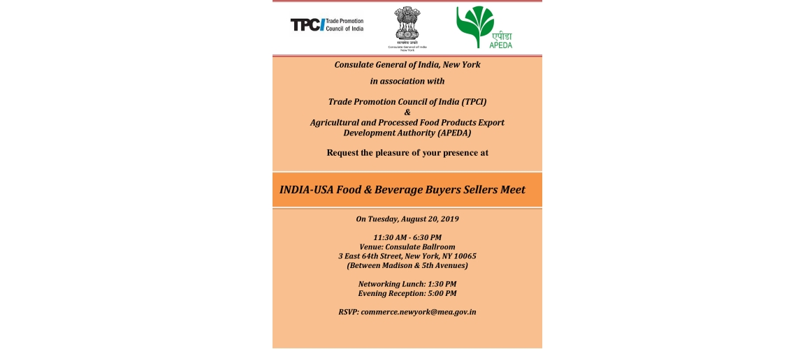 INDIA-USA Food & Beverage Buyers Sellers Meet on August 20, 2019